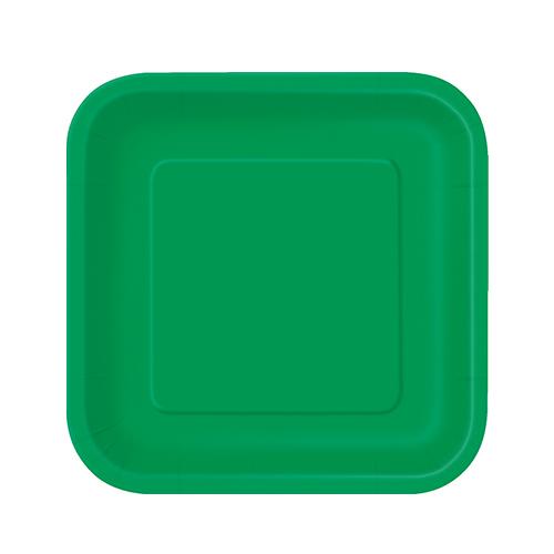 Platos De Papel Cuadrados Verde Esmeralda 17Cm - Paquete De 16