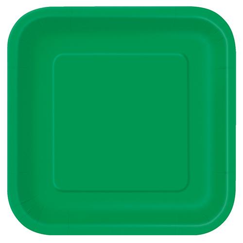 Platos De Papel Cuadrados Verde Esmeralda 22Cm - Paquete De 14