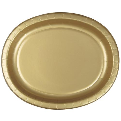 Platos De Papel Ovalados De Oro 30Cm - Paquete De 8