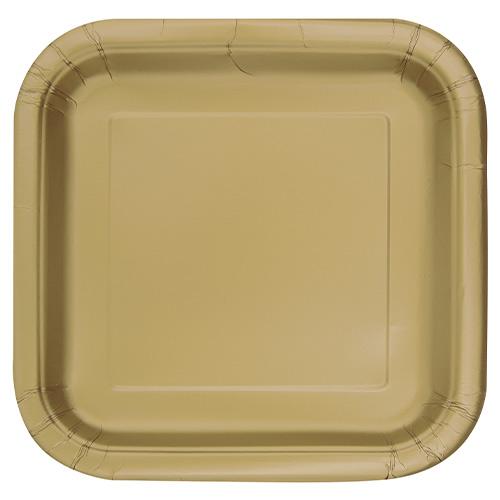Platos De Papel Cuadrados Dorados 22Cm - Paquete De 14
