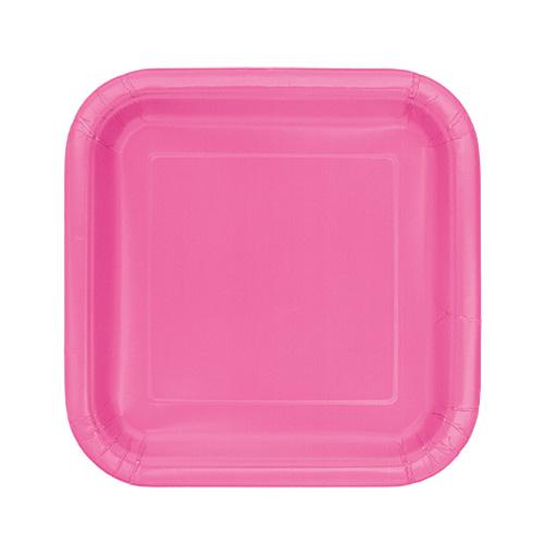 Platos De Papel Cuadrados Rosa Fuerte 17Cm - Paquete De 16
