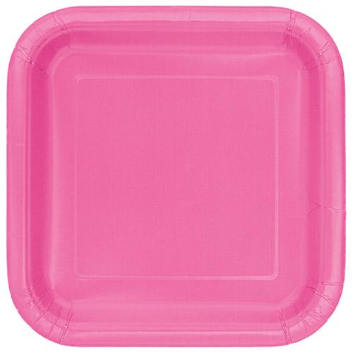 Platos De Papel Cuadrados Rosa Fuerte 22Cm - Paquete De 14