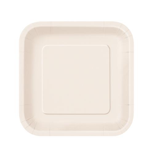 Platos De Papel Cuadrados Marfil 17Cm - Paquete De 16