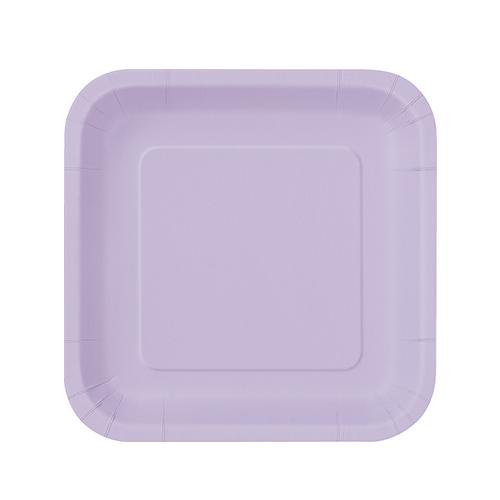 Platos De Papel Cuadrados Lila 17Cm - Paquete De 16