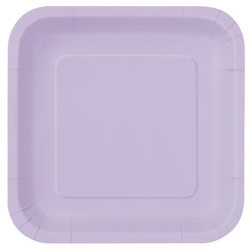 Platos De Papel Cuadrados Lila 22Cm - Paquete De 14