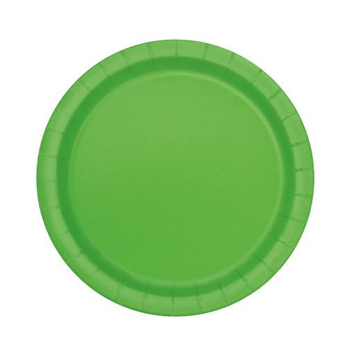 Platos De Papel Redondos Verde Lima 17Cm - Paquete De 20