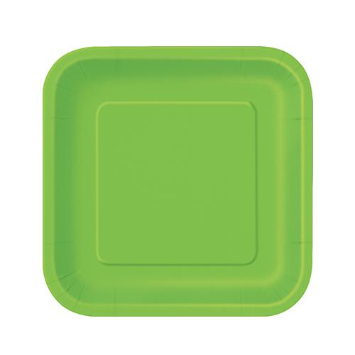 Platos De Papel Cuadrados Verde Lima 17Cm - Paquete De 16