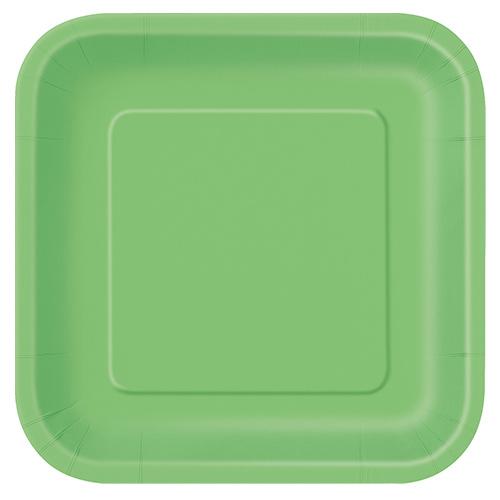 Platos De Papel Cuadrados Verde Lima 22Cm - Paquete De 14