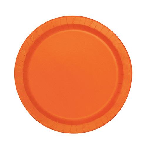 Platos De Papel Redondos Naranja 17Cm - Paquete De 20