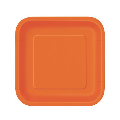 Platos De Papel Cuadrados Naranja 17Cm - Paquete De 16