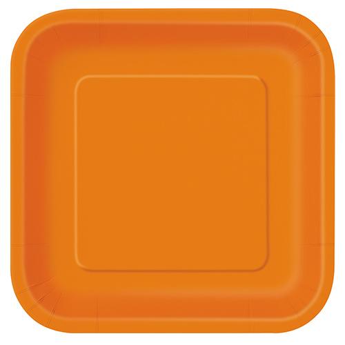 Platos De Papel Cuadrados Naranjas 22Cm - Paquete De 14
