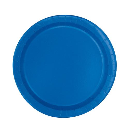 Platos De Papel Redondos Azul Royal 17Cm - Paquete De 20
