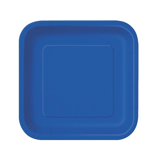Platos De Papel Cuadrados Azul Royal 17Cm - Paquete De 16