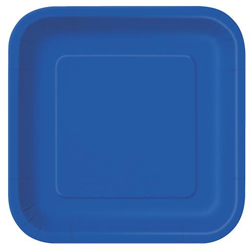 Platos De Papel Cuadrados Azul Royal 22Cm - Paquete De 14