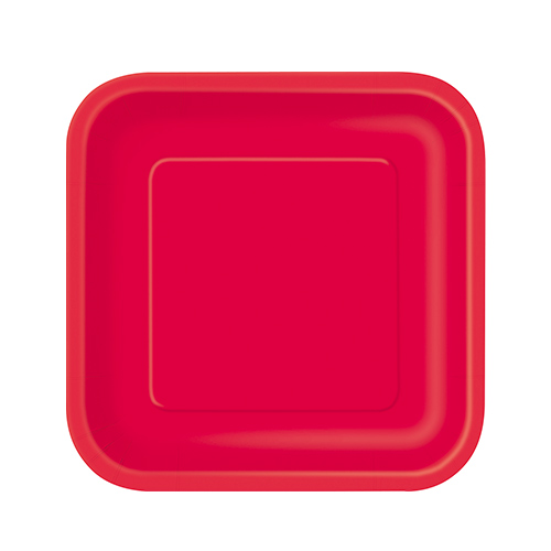 Platos De Papel Cuadrados Rojo Rubí 17Cm - Paquete De 16