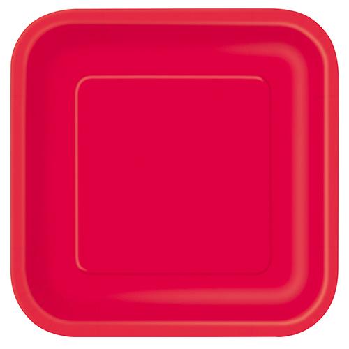 Platos De Papel Cuadrados Rojo Rubí 22Cm - Paquete De 14
