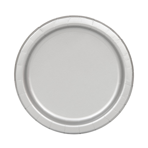 Platos De Papel Redondos Plateados 17Cm - Paquete De 20