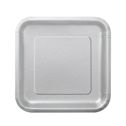 Platos De Papel Cuadrados Plateados 17Cm - Paquete De 16