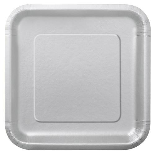 Platos De Papel Cuadrados Plateados 22Cm - Paquete De 14