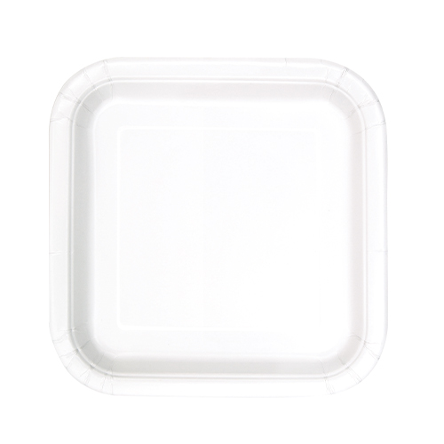 Platos De Papel Cuadrados Blancos 17Cm - Paquete De 16