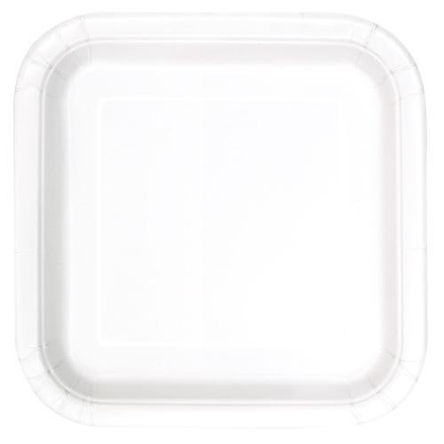 Platos De Papel Cuadrados Blancos 22Cm - Paquete De 14