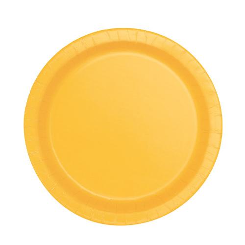 Platos De Papel Redondos Amarillos 17Cm - Paquete De 20