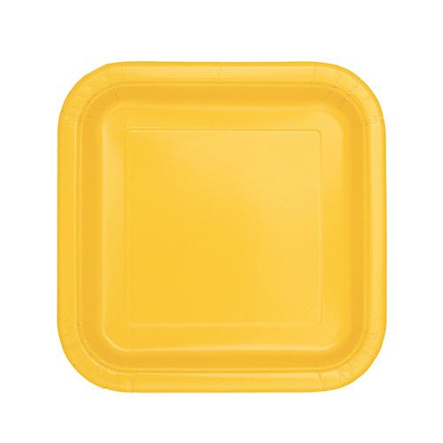 Platos De Papel Cuadrados Amarillos 17Cm - Paquete De 16