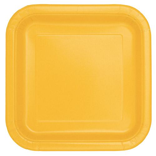 Platos De Papel Cuadrados Amarillos 22Cm - Paquete De 14