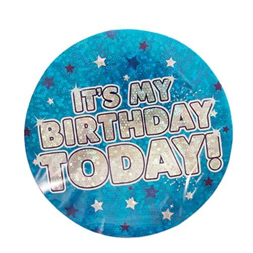 Azul Es Mi Cumpleaños Hoy Insignia Holográfica 15Cm