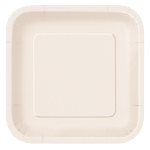 Platos De Papel Cuadrados Marfil 22Cm - Paquete De 14