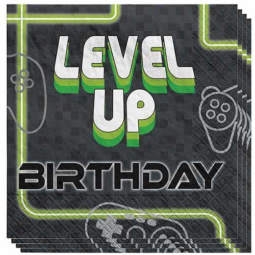 Servilletas Para El Almuerzo De Cumpleaños De Level Up Gaming 33Cm 2 Capas - Paquete De 16