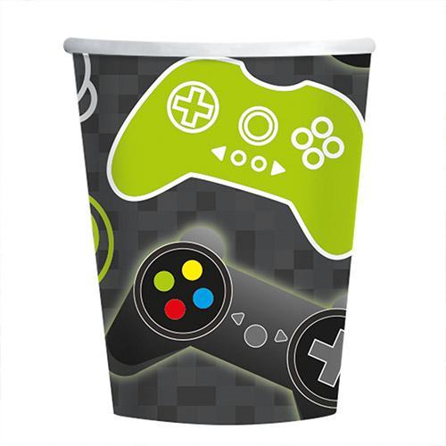 Vasos De Papel Level Up Gaming 250Ml - Paquete De 8